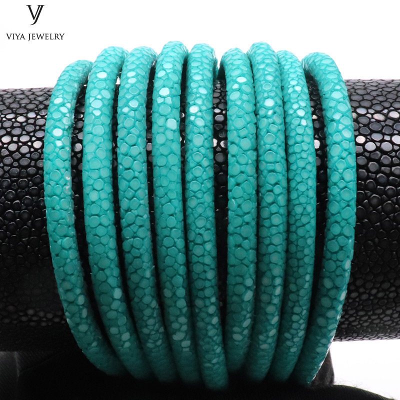 4/5/6mm Real Turquoise Stingray Leather Cord Luxury Bracelet Leather Cord High Quality Stingray Leather Jewelry Rope stylish woven cord skull cross leaf cow head turquoise zinc alloy bracelet multicolored