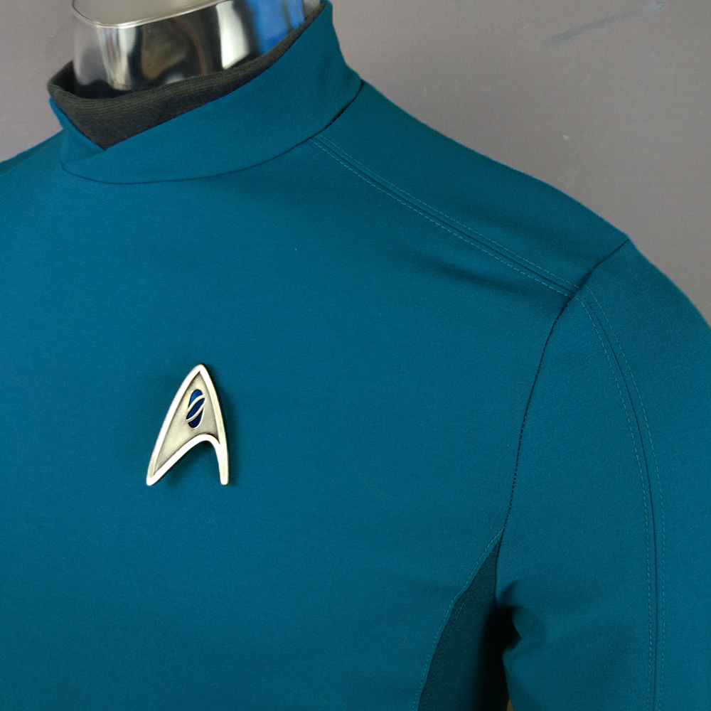 Cosplay Star Trek Custume Beyond Blue Captain Kirk Uniform Spock Blue Uniform Badge Scotty Red Halloween Party Prop (7)