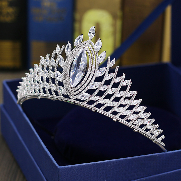 Paved CZ Crown Cubic Zircon Tiara Princess Tiaras Wedding Hair Accessories Bride Hair Jewelry Bijoux Cheveux Coroa WIGO1095 03 red gold bride wedding hair tiaras ancient chinese empress hat bride hair piece