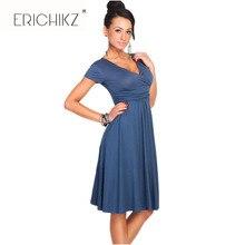 ERICHIKZ Новый Женщины Повседневные Платья Партии V-образным Вырезом С Коротким Рукавом Длиной до Колен Хлопок Драпированные Твердые Свободные платья для леди