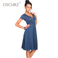 New Summer Hot Sell Women Casual Party Dresses V Neck Short Sleeve Knee Length Cotton Draped