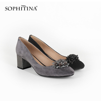 SOPHITINA Large Size Women's Pumps High Square Heel Kid Suede Round Toe Slip on Lady Shoes Fashion Flower Decoration Pumps MC03