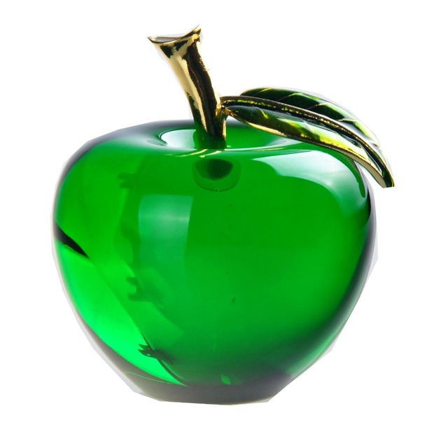 2.2 inch Green Glass Crystal Apple Paperweight Crafts Art&Collection 55mm Crystal Fruit Souvenir Home Wedding Gifts Decoration