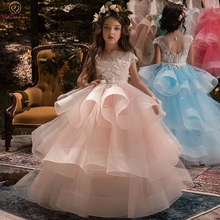 цена на 2019 New Pink Ruffles Ball Gown Flower Girls Dresses For Wedding Appliques With Bow First Communion Gowns Special Occasion Dress