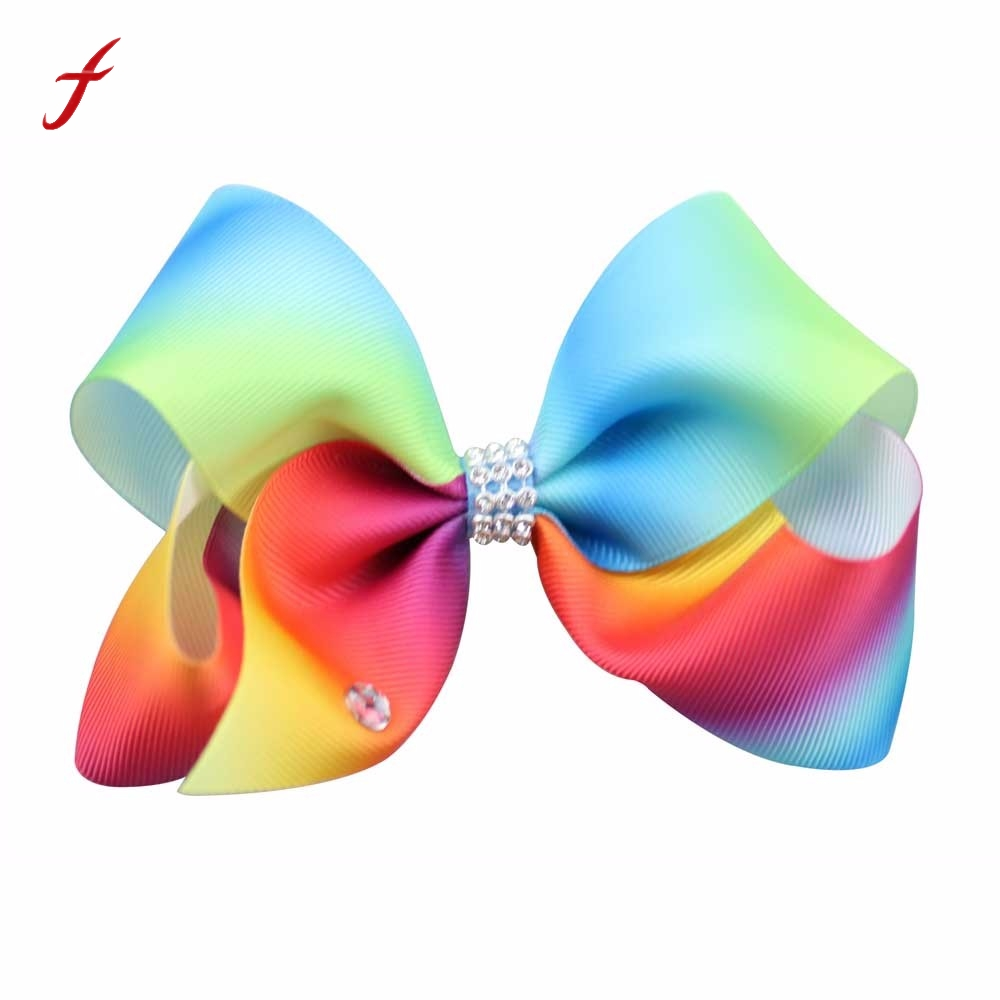 Children hair clip Rainbow Gradient Ribbons Row Drill  Diamond Hair Ornaments Girls Lovely Bow Bowknot Hairpin Headdress 2017