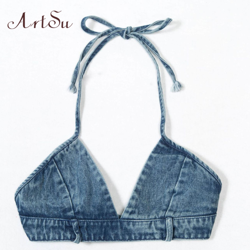 ArtSu Blue Denim Cropped Sexy Sleeveless Backless Club Streetwear Halter   Tank     Top   Fitness Women Bralette Crop   Top   ASVE20123