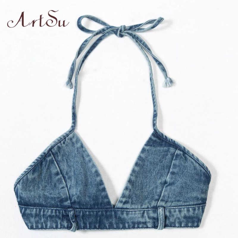 ArtSu azul Denim recortado Sexy sin mangas sin espalda Club Streetwear Halter camiseta sin mangas Fitness mujeres Bralette Crop superior ASVE20123