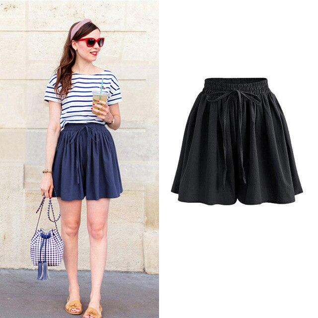 Summer Women Shorts High Waist Loose Chiffon Shorts Female Slacks Large Size Shorts 8001 4