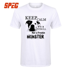 """Keep Calm its a Pitbull Not a Freakin Monster"" Tops T-Shirt Teenage Men Pit Bull O Neck Short Pitbull Women and Men T Shirt Cotton Tees"