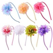 Fashion Girl Hair Beautiful Flowers Headband Boutique Printed Handmade Ribbon Hairbands Children Accessories