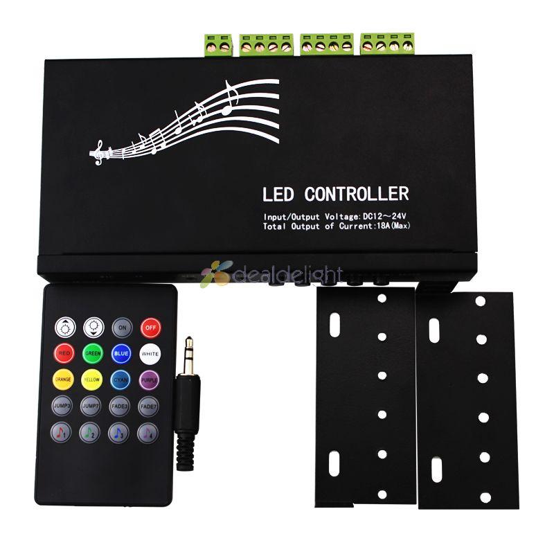 DC12V 24V 18A 3 канальный звук музыка RGB светодиодный контроллер с ИК 20 клавишным пультом дистанционного управления - 5