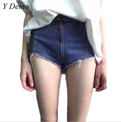 Vintage High Waist Tight Zipper Denim   Shorts     Short   Blue Women Sexy   Shorts