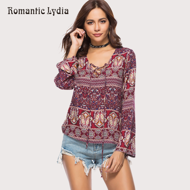 2018 Women Boho Bohemian Top Summer Vintage Floral Print Casual Tops   Blouse     Shirt   Plus Size Hot Sale