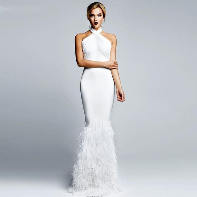 2017 Luxo Sereia Pena Celebrity Dress Robe De Soiree Sexy Branco Prom Vestidos Halter Neck Vestido Formal Feita Sob Encomenda