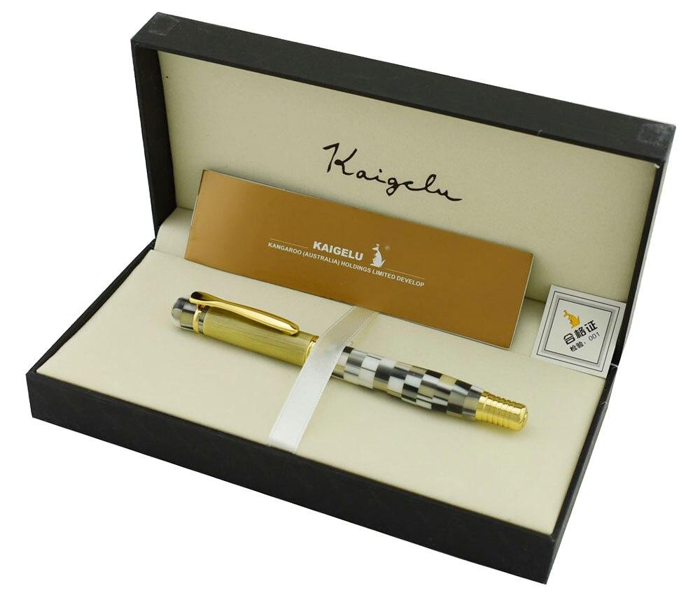 цена на Kaigelu 336 Celluloid Fountain Pen Beautiful White Pattern Writing Gift Pen with Gift Box Medium Nib Office Business Supplies
