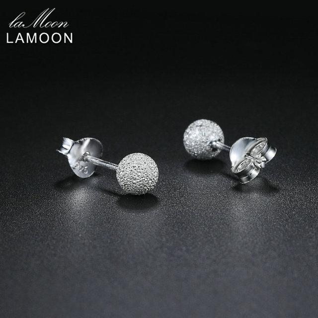LAMOON 100% Real 925 Sterling Silver Stud Earrings For Women Fine Jewelry Ball Shaped Girl Gift Accessory EY233 EY234 EY235
