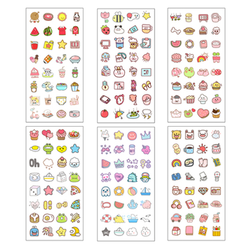 6 Pcs/pack Cute Stationery Sticker Kawaii Diary Sticker Paper For  Scrapbooking Diy Diary Album Stick Label Stickers