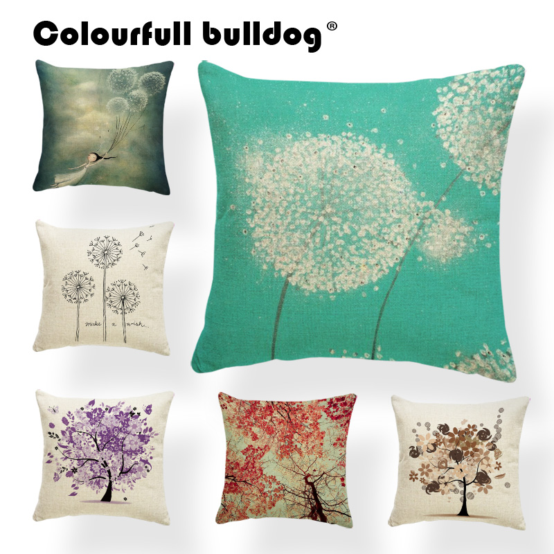 Plant Flowers Cushion Creativity Cartoon Pillow Country Lounger Accessories Throw Pillow Cases Dandelion Butterfly Square Linen