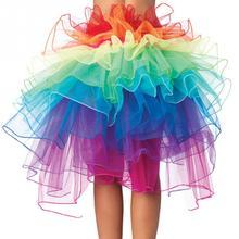 Women Sexy Show Rainbow Skirt Girls Ball Party Colorful Puff Skirt