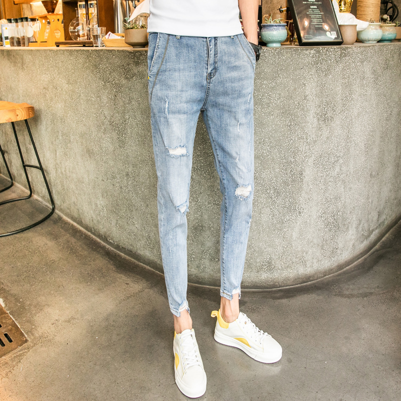 Men 39 s jeans 2019 summer new port wind hole small feet nine points jeans young people personality fashion trend men 39 s clothing in Jeans from Men 39 s Clothing