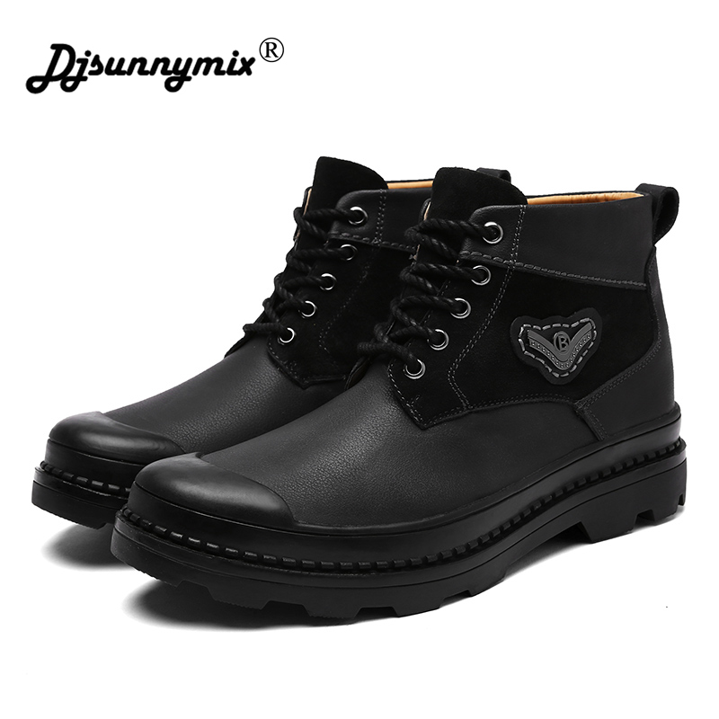 DJSUNNYMIX Brand Footwear Men Classic black Cow Leather Casual Shoes Brown Male Ankle Winter Boots Man Outdoor Safety shoes