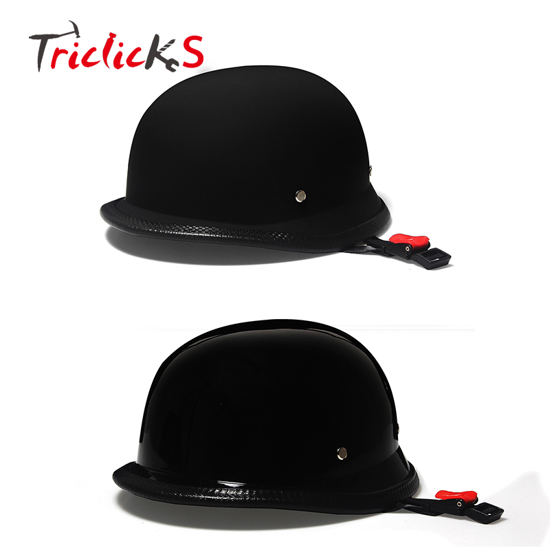 Triclicks WWII German Style Dot Motorcycle Helmet Black Retro Vintage Half Face Helmets Motorcycle Street Protection Half Helmet moto adult leather harley helmets for motorcycle retro half cruise helmet prince motorcycle german helmet vintage motorcycle