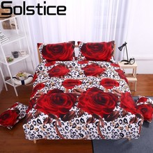 Solstice High Quality 3D Big Rose Print 4pcs Bedding Set Cotton Bed Sheet Duvet Cover Pillowcase Bed Linen Bedclothes Queen Size