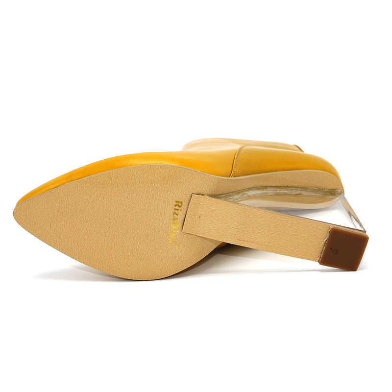 RizaBina สตรีรองเท้า Wedges รองเท้าส้นสูงข้อเท้ารองเท้าชี้ Toe รองเท้าส้นสูงรองเท้าบูทฤดูหนาวรองเท้าผู้หญิงขนาด 33 -41