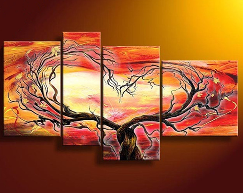 Handmade Acrylic Paintings 4 Panel Canvas Modern Decor Wall Art Pictures Handpainted Abstract Orange Tree Flowers Oil Painting