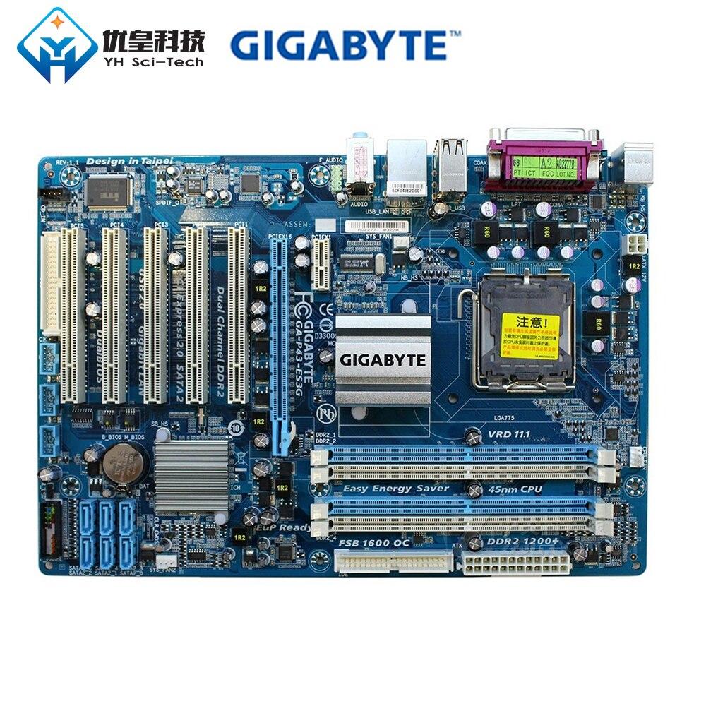 Gigabyte GA-P43-ES3G Intel P43, placa base de escritorio Original usada LGA 775 Extreme Quad Core 2 Duo DDR2 16G SATA2 USB 2,0 ATX