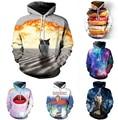 Moda homens/mulheres tigre/gato explosão/rosquinhas moletom print space galaxy hoodies unisex harajuku 3d jaqueta livre grátis