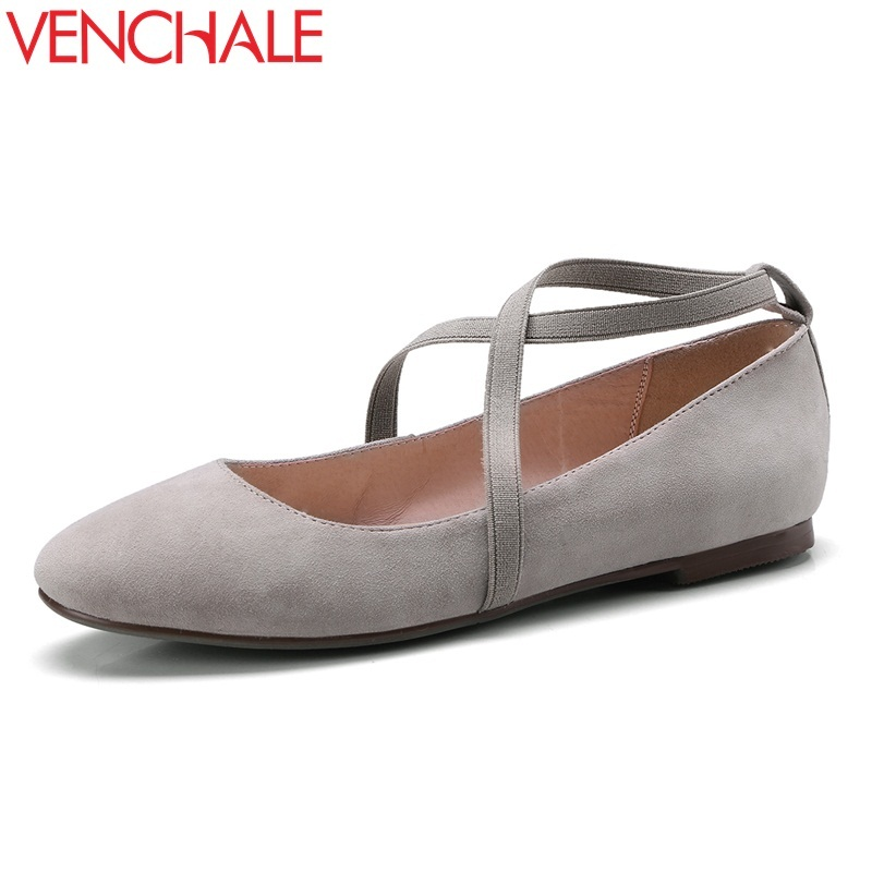 VENCHALE women casual flats 2018 spring autumn new style round toe low heel nurse working shoes real leather pigskin inside flat spring shoes women flat heel round toe casual comfort flats pregnant loafers slip resistance low heels all match