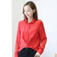 Nowy Koreański Moda Damska Szyfon Rozmiar S-2XL Bluzki Z Długim Rękawem Czerwony Kolor Kobiety Plaid Koszule Czarny Długie Ubrania