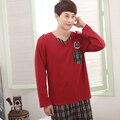 2016 de Primavera y Otoño nuevos hombres de costura simple trajes pijama de servicio a domicilio