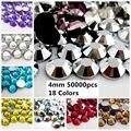 50000 pcs ss16 4mm Resina Strass Flatback Cores Normal #19-#36 Backing Prata Redonda Cola Em diamantes DIY Unhas Materiais de Arte