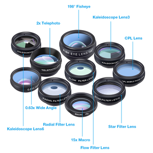 Image 2 - APEXEL 10 ב 1 טלפון עדשת ערכת אוניברסלי רחב זווית מאקרו CPL מסנן טלסקופ עדשת Fisheye עדשה עבור כמעט Smartphone