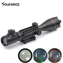 Professional Sniper Riflescope 4-16X50 EG Red Green Optical Sight Scope Waterproof with 20MM Rail Mounts for Airsoft Gun Hunting
