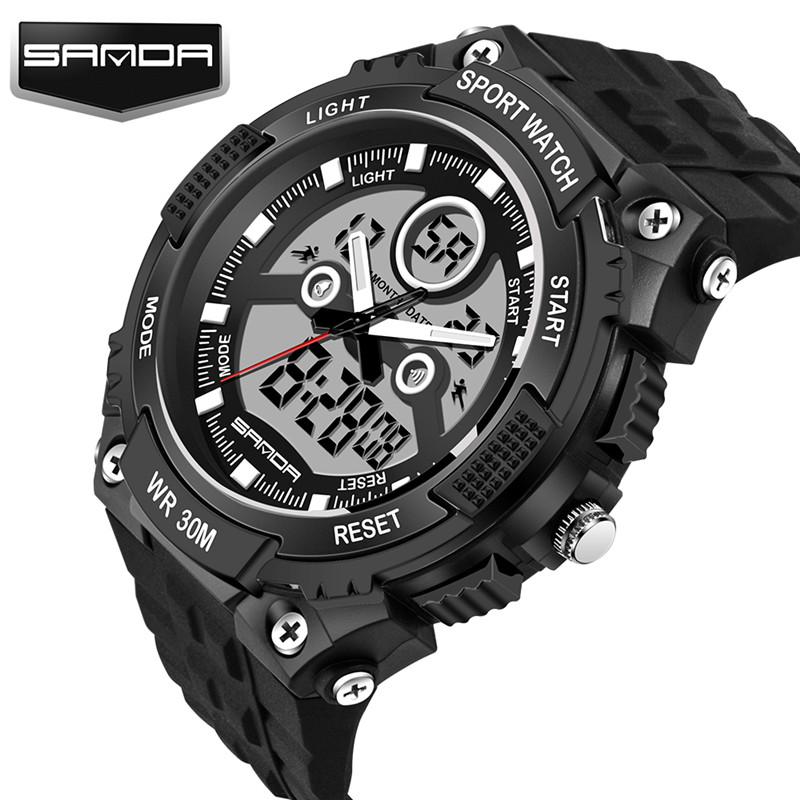 2018 Men's Quartz Digital Watch Men Sports Watches Relogio Masculino S Shock Relojes LED Military Waterproof Wristwatches hoska hd030b children quartz digital watch