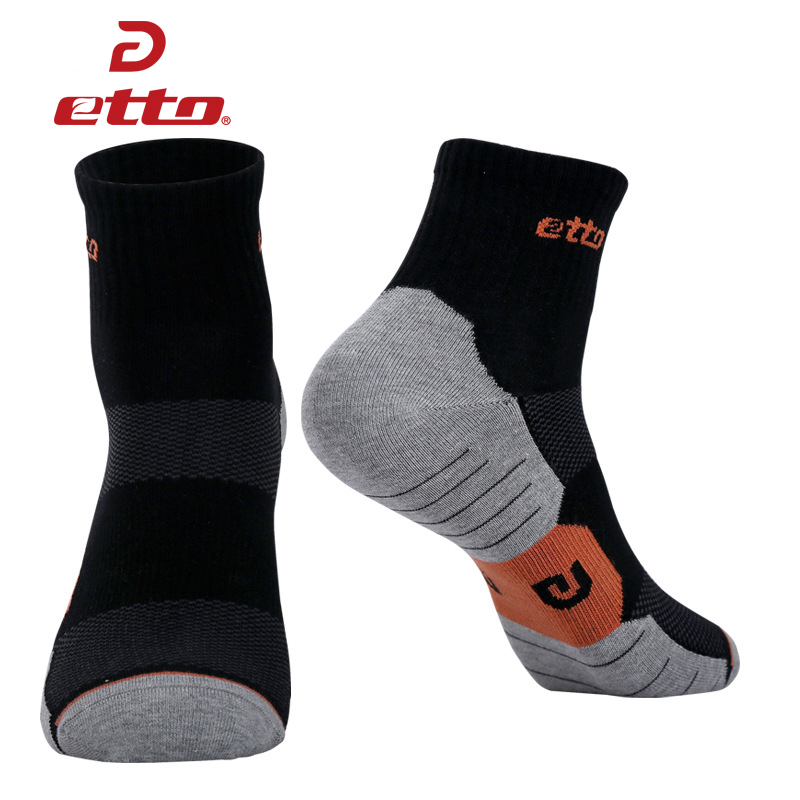 ETTO 3 Pairs / Lot Men Brand Professional Sports Socks Cycling Running Athletic Sokken Cotton Soccer Socks Tube Sox HEQ020