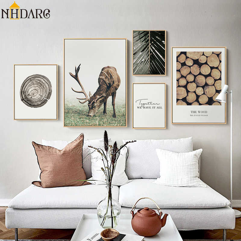 Scandinavian Scenery Deer Quote Plant Wood Tree Ring Canvas Print Painting Poster Art Wall Picture for Living Room Home Decor