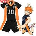 Haikyuu Syouyou Cosplay Karasuno Uniforme Escolar Jersey Voleibol Hinata Cosplay Número 10 Camiseta y Pantalones WXC