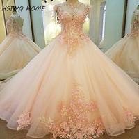 2017 Pink Champagne Wedding Dresses The Bride Lace Flower Wedding Bridal Gown Real Photo Party Formal