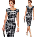 Dress Vestidos Summer Women Plus Size Elegant Floral Print Check Cap Sleeve Tunic Work Business Casual Party Pencil Sheath 004