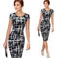 Dress vestidos verano de las mujeres más el tamaño elegante de la impresión floral tapa cheque manga túnica de negocios casual party lápiz vaina 004