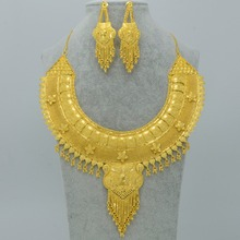 Dubai Luxury Wedding Dowry Jewelry set,Gold Plated & Copper 2017 India Necklace/Earrings Women Gift,Ara/African sets #003723