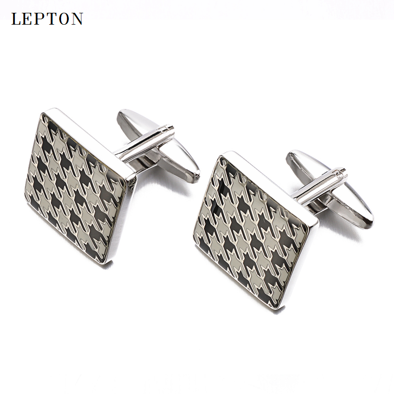 High Quality Square Enamel cufflinks For Men French shirt cuff cuff links Decorative pattern Style Men Wedding Groom Cuff Links in Tie Clips Cufflinks from Jewelry Accessories