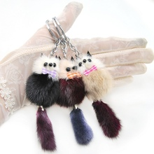 Brand New Cute Fluffy Pompom Raccoon Keychain Genuine Mink Fur Bear Key Chain Ring Pom Pom Doll Bag Charm Car Key Holder Gift недорого