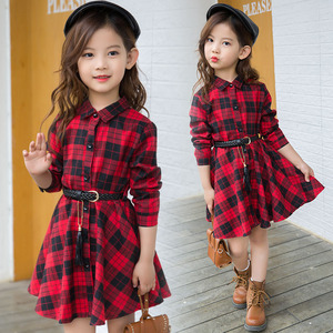 2018 Elegant Girls Casual Long Sleeve Plaid Shirt Dress With Belt Fashion Teenager Blouse Dresses 4 5 6 7 8 9 10 11 12 13 Years(China)