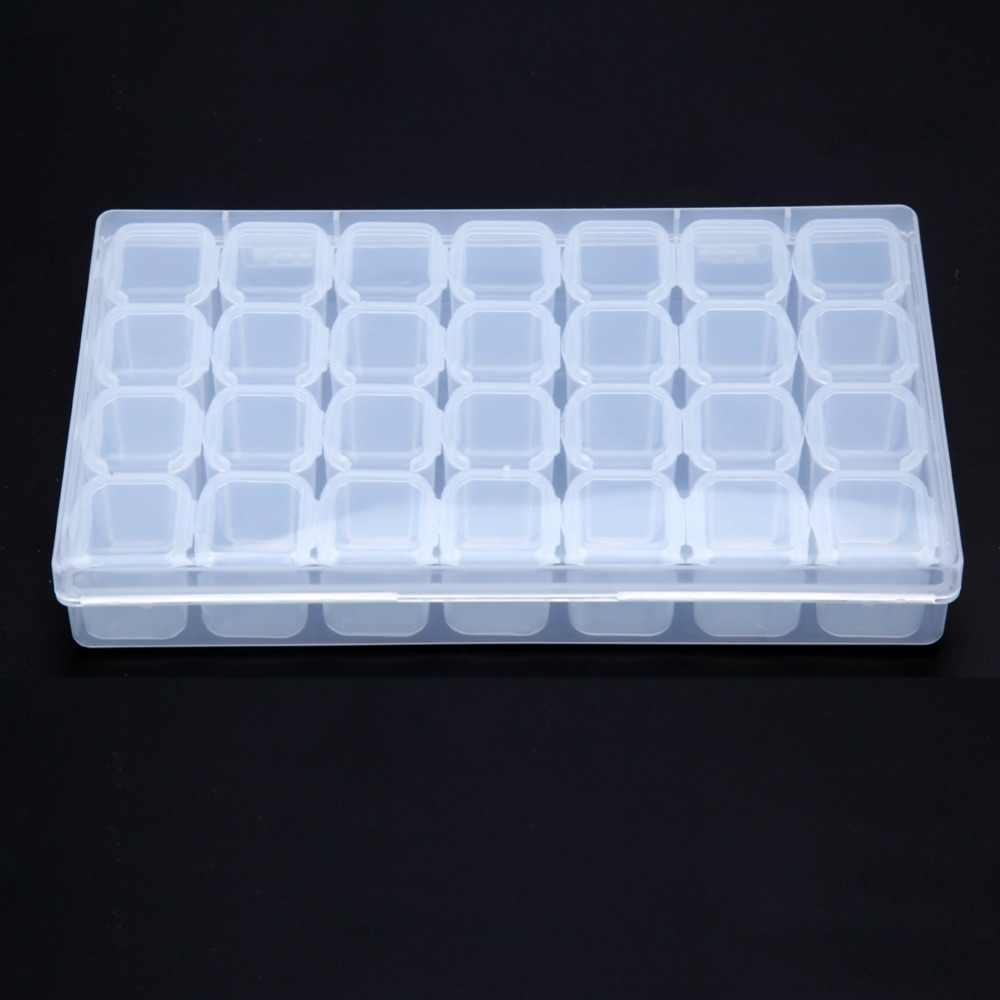 1 مجموعة 28 فتحات فارغة صندوق تخزين الأظافر الحال بالنسبة الراين قطع سبيكة التخزين المنظم الخرز علب للمجوهرات