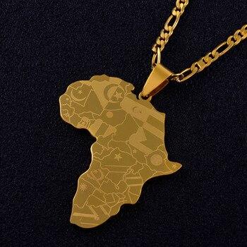 Pendentif et Collier Carte de l'Afrique avec les pays en impression laser